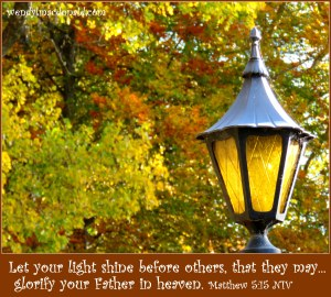 Let your light shine before others, that they may... glorify your Father in heaven. Matthew 5:15 NIV